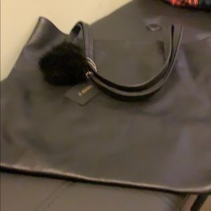 New Forever 21 black tote with Pom Pom NWT
